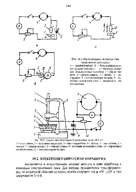 Принципиальные схемы электроискровых установок.