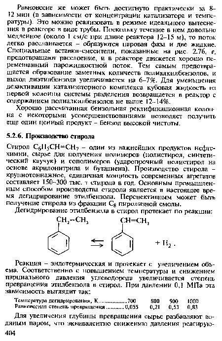 Стирол СбН5СН=СН2 - один из важнейших продуктов нефтехимии, сырье для получения полимеров (полистирол...