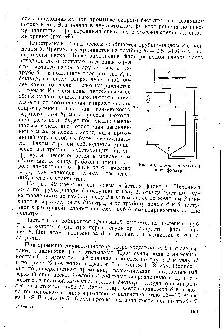 На рис. 49 представлена схема действия фильтра.  Исходная вода по трубопроводу 1 поступает к узлу...