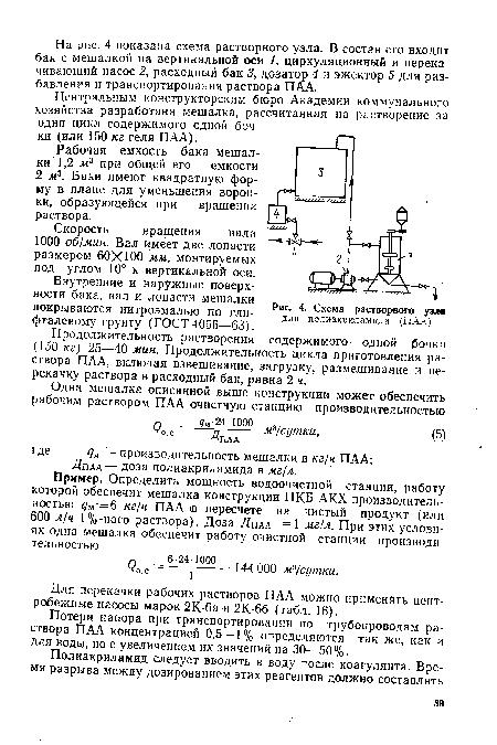 Схема растворного узла, Схема