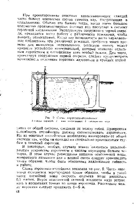 Схема аэротенка-отстойника