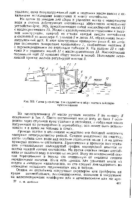 Схема устройства для отделения и сбора масла в действующем отстойнике.
