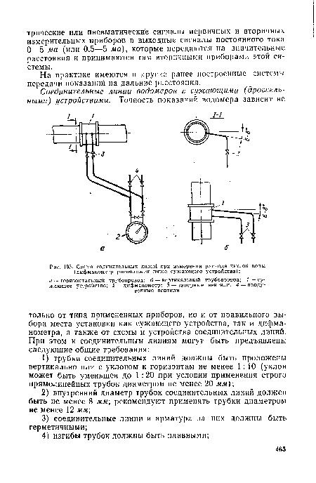 Схема содинительных линий при измерении расхода чистой воды (дифманометр расположен ниже сужающего устройства) .