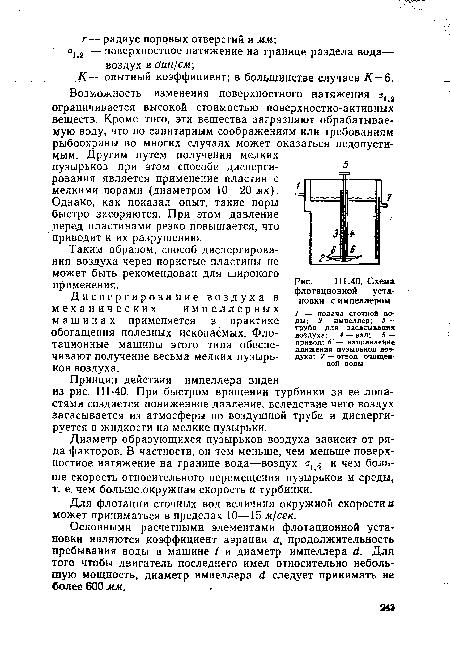 Схема флотационной установки с импеллером.