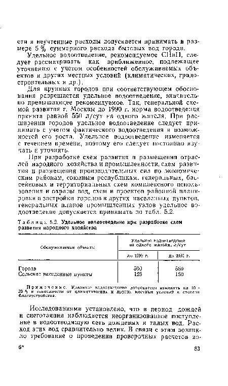 5.2, Удельное водоотведение
