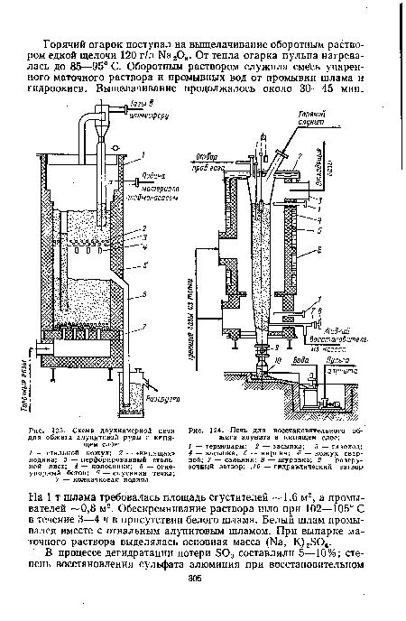 Схема двухкамерной печи для обжига алунитовой руды в кипящем слое.