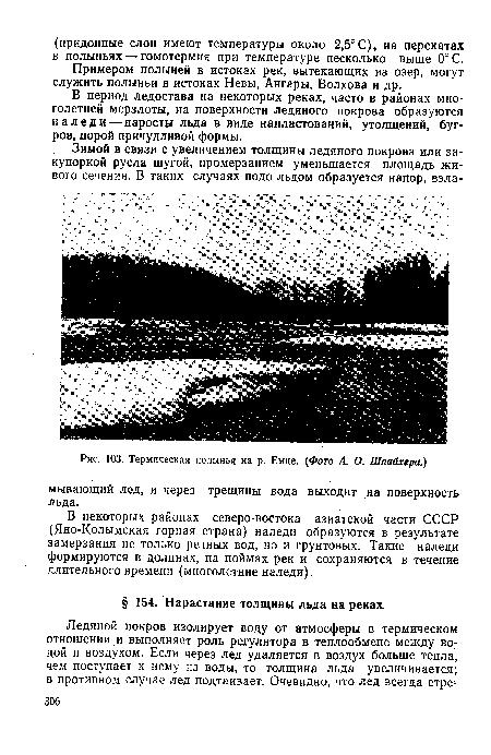 Примером полыней в истоках рек, вытекающих из озер, могут служить полыньи в истоках Невы, Ангары, Волхова и др.