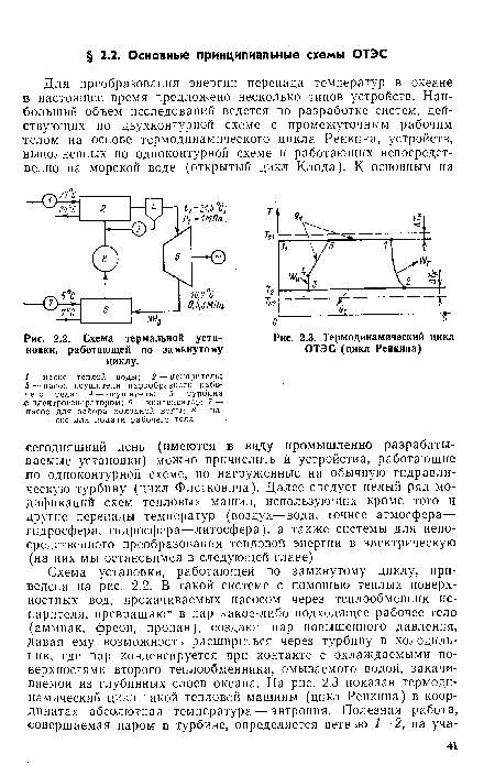 Термодинамический цикл ОТЭС (цикл Ренкина) .