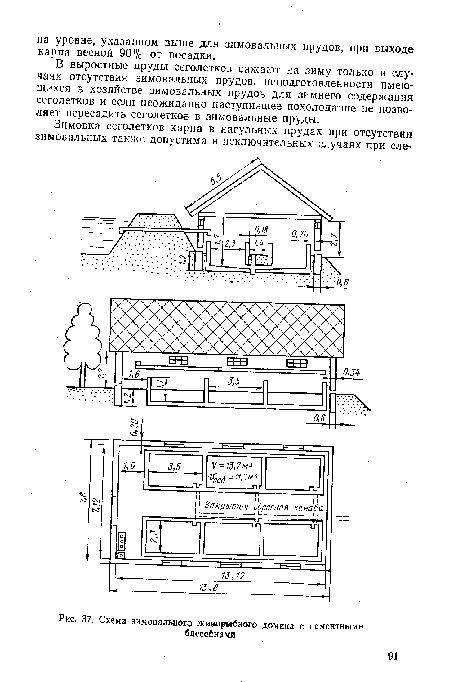 Схема зимовального живорвбного домика с цементными.