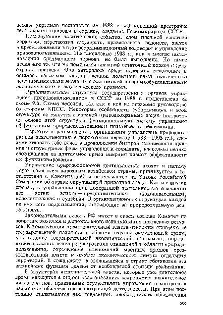 Приблизительная структура государственных органов управления природопользованием в СССР до 1988 г...